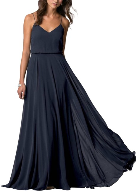 Item - Navy Inesse Chiffon V-neck Spaghetti Strap Long Formal Dress Size 6 (S)