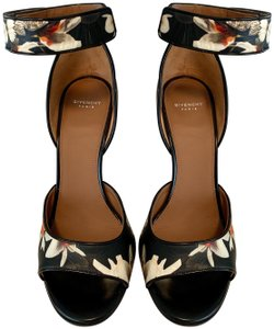 Givenchy Round Toe Open Toe Floral Leather Ankle Strap Multicolor Sandals