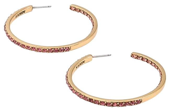 Item - Gold Two Tone Pave Hoops Earrings