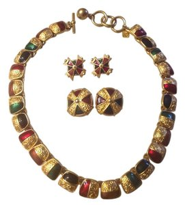 Anne Klein ANNE KLEIN GOLD-TONE and MULTI-COLOR PAINTED ENAMEL NECKLACE and EARRING SET
