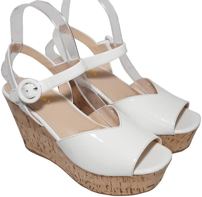 Item - White Women's Cork Platform Patent Leather Heels Sandals Wedges Size EU 38 (Approx. US 8) Regular (M, B)