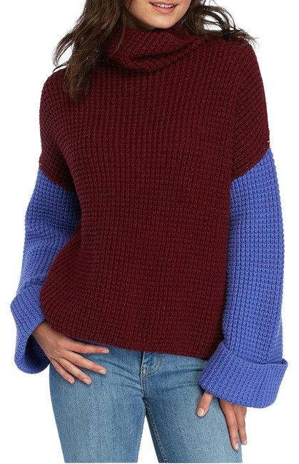 Item - L Colorblock Park City Slouchy Waffle Cotton Blend Red Blue Pink Sweater