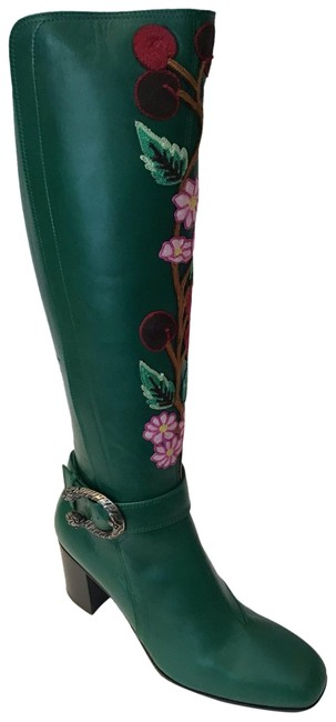 Item - Emerald Green Dionysus Elizabeth Embroidered Tall Boots/Booties Size US 7.5 Regular (M, B)