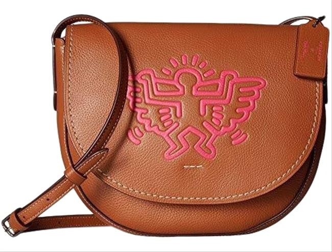 Item - Keith Haring Brown Leather Cross Body Bag