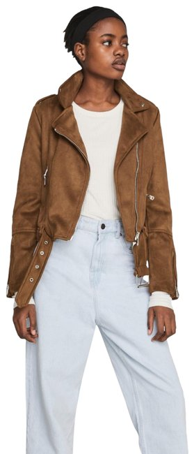 Item - Brown Trf Faux Suede Moto Jacket Size 2 (XS)