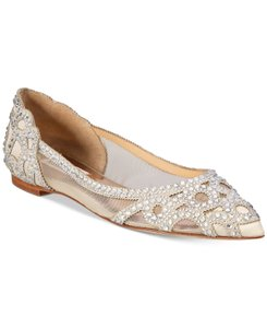 Badgley Mischka Ivory Bhldn Gigi Crystal Embellished Flats Formal Size US 9.5 Wide (C, D)
