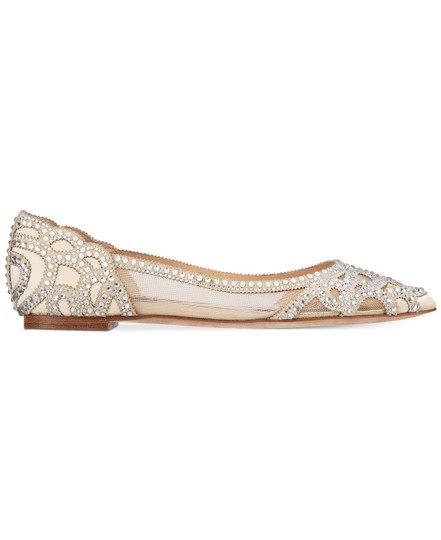 Badgley Mischka Ivory Bhldn Gigi Crystal Embellished Flats Formal Size US 9.5 Wide (C, D) Image 1