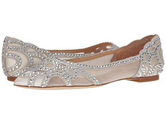 Badgley Mischka Ivory Bhldn Gigi Crystal Embellished Flats Formal Size US 9.5 Wide (C, D) Image 10