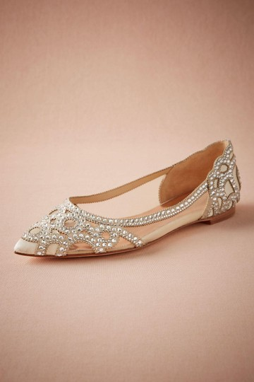 Badgley Mischka Ivory Bhldn Gigi Crystal Embellished Flats Formal Size US 9.5 Wide (C, D) Image 2