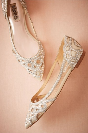 Badgley Mischka Ivory Bhldn Gigi Crystal Embellished Flats Formal Size US 9.5 Wide (C, D) Image 3