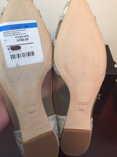 Badgley Mischka Ivory Bhldn Gigi Crystal Embellished Flats Formal Size US 9.5 Wide (C, D) Image 9
