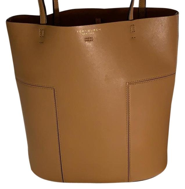 Item - T Block with Pouch Camel/Caramel Brown Leather Tote