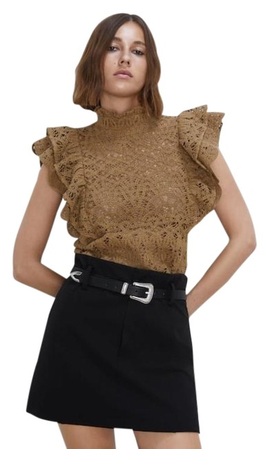 Item - Brown Textured Ruffled Lace Crochet Blouse Size 4 (S)