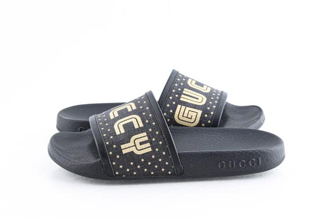 Item - Black Supreme Canvas Stars Slide Sandals Shoes