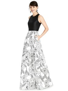 Dessy Black&white Sateen Twill D746 Modern Bridesmaid/Mob Dress Size 10 (M)