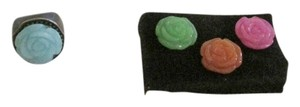 .925 Sterling Silver Black Onyx Resin Ring with 4 Interchangeable Magnetic Carved Jade Flower Discs Size 7.5