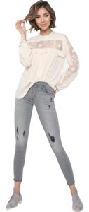 James Jeans Distressed Ankle Stretchy Colored Capri/Cropped Denim-Light Wash