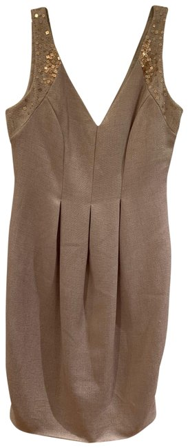 Item - Taupe/Gold Infusion Short Cocktail Dress Size 4 (S)
