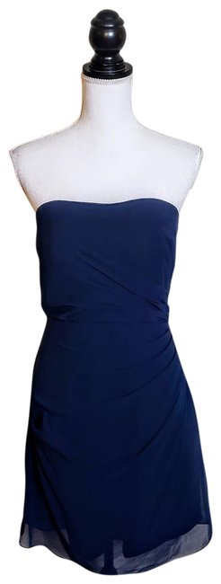 Item - Blue Cocktail Bridesmaid Prom Mid-length Formal Dress Size 8 (M)
