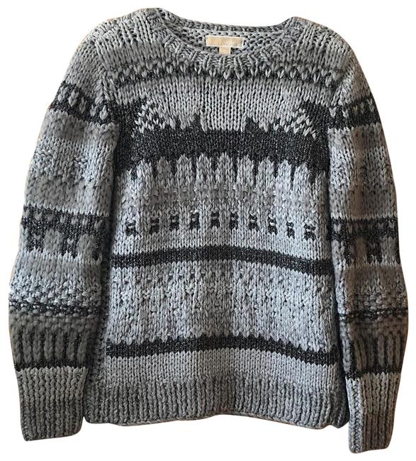 Item - Chunky Knit Woven Shimmer Black and Silver Sweater