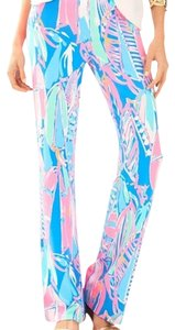 Lilly Pulitzer Georgia May Palazzo Comfortable Jersey Wide Leg Pants Bay Blue Out To Sea