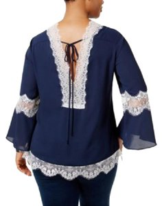 NY Collection New With Tags Plus Size Sexy Lace Flare Top Twilight blue/White