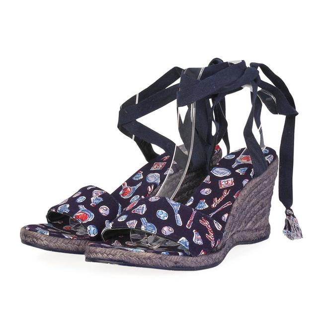 Item - Blue White Red New Badminton Print Canvas Ankle Strap Espadrille Wedges Size EU 39 (Approx. US 9) Regular (M, B)