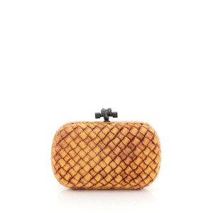 Bottega Veneta Velvet Orange Clutch