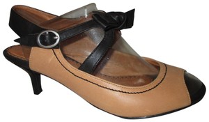 Miss Albright Leather Peep Toe Open Toe Onm002 tan & black Pumps