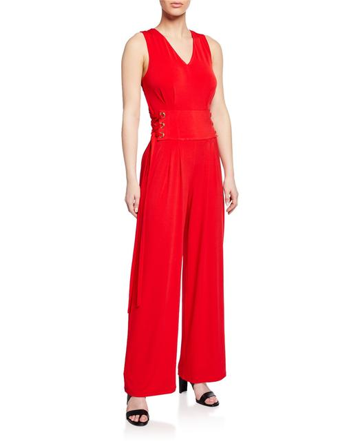 Item - Red Sleeveless Lace-up-waist Wide-leg Romper/Jumpsuit