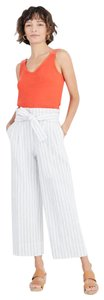 Madewell Striped Tie-waist Trousers Capri/Cropped Pants white, blue