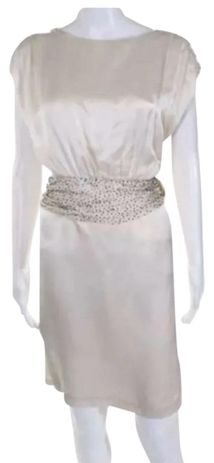 Item - White Silk Beaded Large Mid-length Cocktail Dress Size 12 (L)