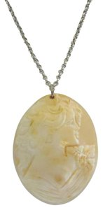 AMEDEO AMEDEO Scognamiglio 70mm Cornelian Shell Cameo & 18 Inch Sterling Silver Chain Necklace