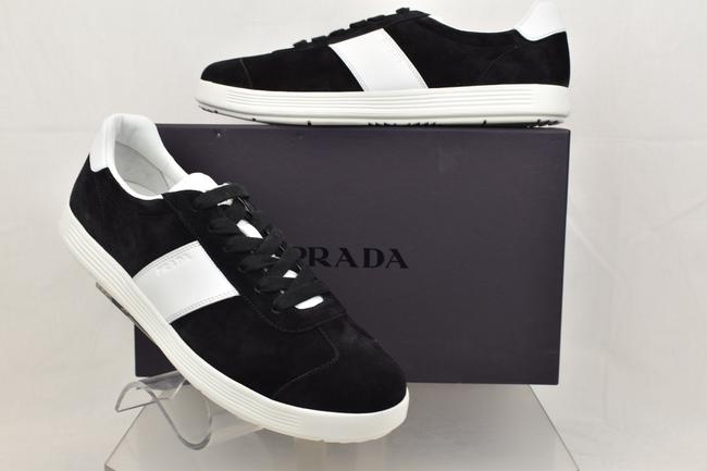 Item - Black 4e3352 Suede White Leather Stripe Lace Up Low Top Sneakers 7 Shoes