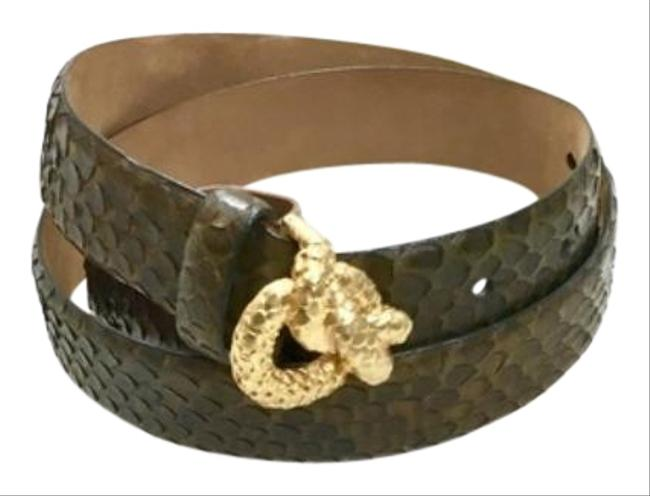 Item - Green Whip Snake with Gold Ornamental Buckle Belt