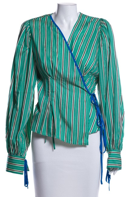 Item - Green Striped Blouse Size 8 (M)