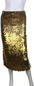 Sally LaPointe Black Tie Gown Dress Formal Skirt New - Gold Sequin Pencil