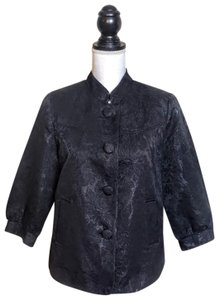 George Lace Career Buttons Collar Black Blazer