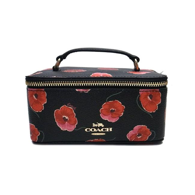 Item - Black Light Gold Red Vanity Case Poppy Floral Flower Bag F38705