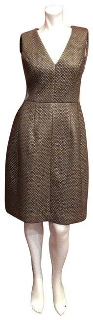 """Item - Grey """"Livie"""" Quilted Faux Leather Short Cocktail Dress Size 6 (S)"""