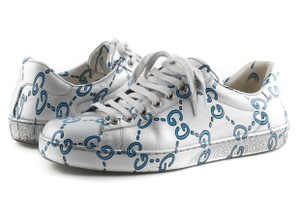 Gucci Silver Ace Gg Coated Leather Sneakers Shoes