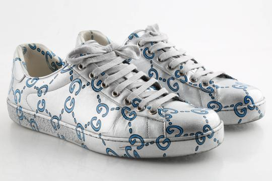 Gucci Silver Ace Gg Coated Leather Sneakers Shoes Image 1