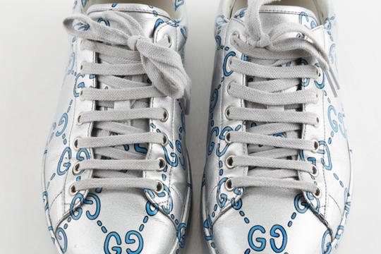 Gucci Silver Ace Gg Coated Leather Sneakers Shoes Image 10