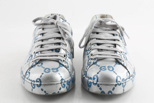 Gucci Silver Ace Gg Coated Leather Sneakers Shoes Image 2