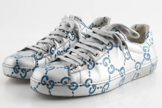 Gucci Silver Ace Gg Coated Leather Sneakers Shoes Image 3