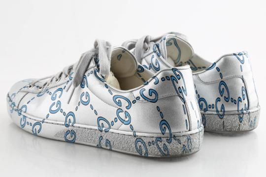 Gucci Silver Ace Gg Coated Leather Sneakers Shoes Image 4