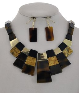 UNBRANDED Brown Cellulose Acetate Necklace & Earring