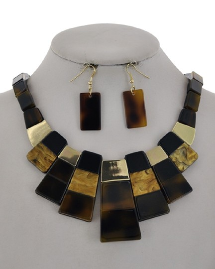 UNBRANDED Brown Cellulose Acetate Necklace & Earring Image 1