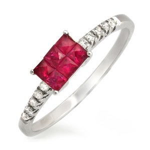 Non Branded 0.75 CT Ruby & 0.12 CT Diamonds 18K White Gold Wedding Band Ring