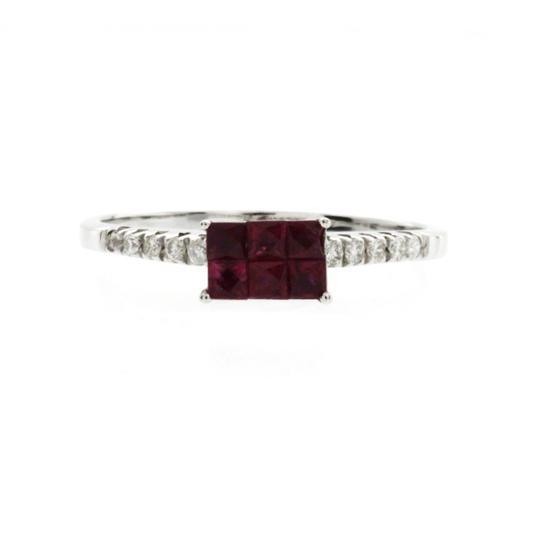 Non Branded 0.75 CT Ruby & 0.12 CT Diamonds 18K White Gold Wedding Band Ring Image 2
